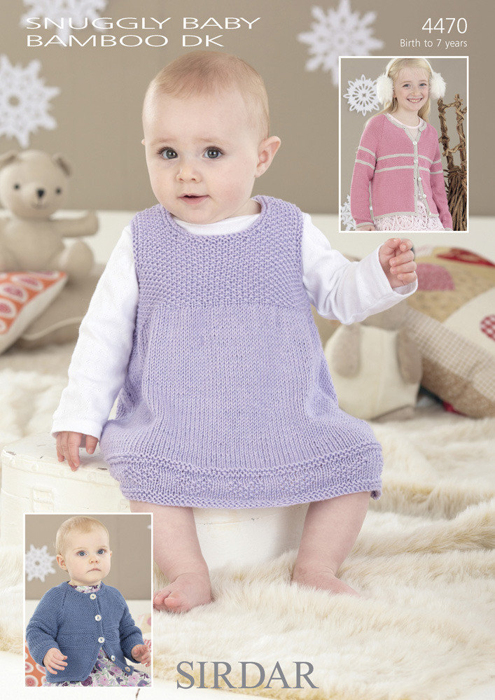 Knitting Designs Patterns : Cardigans & Pinafore in Sirdar Snuggly Baby Bamboo DK - 4470