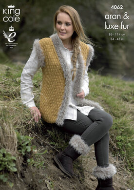 Jacket, Gilet and Boot Toppers in King Cole Merino Aran - 4062