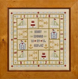 Historical Sampler Company Four Boats Birth Sampler Cross Stitch Kit - 23cm x 23cm