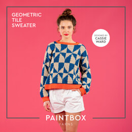 Geometric Tile Sweater - Free Sweater Crochet Pattern For Women in Paintbox Yarns Cotton DK by Paintbox Yarns