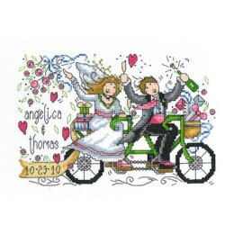 Imaginating Counted Cross Stitch Kit Wedding Ride Wedding Record (14 Count) - 8.75in x 5.75in