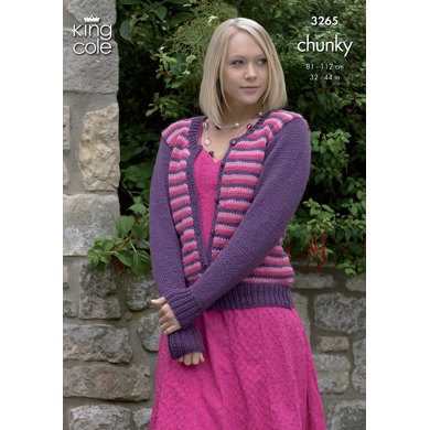Cardigans in King Cole Merino Blend Chunky - 3265