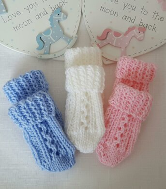 Thumbless baby mittens quick knit christmas