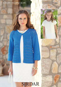 3/4 and Short Sleeved Cardigans in Sirdar Cotton DK - 7086
