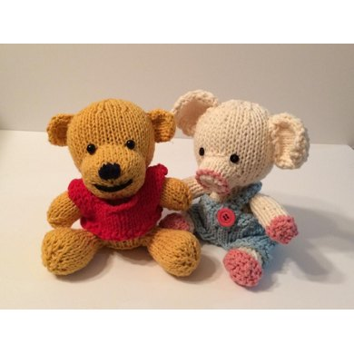 Knitkinz Bear & Piglet - for Your Office