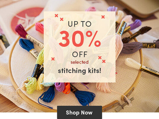 Up to 30 percent off selected stitching kits!