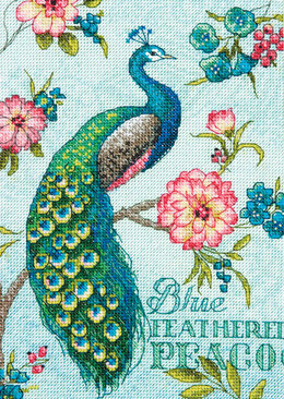 Dimensions Blue Peacock Cross Stitch Kit - 12.5cm x 18cm