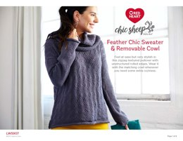 Feather Chic Sweater & Removable Cowl in Red Heart Chic Sheep - LW5907 - Downloadable PDF