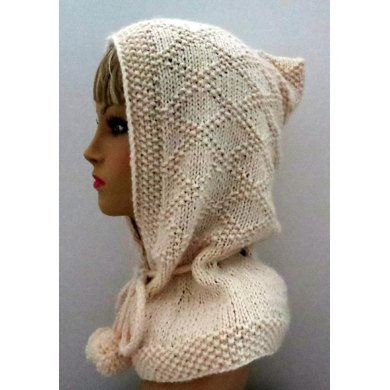 Hooded Scarf, Hooded Hat, Hooded Collar, Elegant Hood with Drawstrings and Pompoms