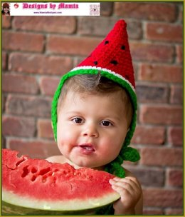 Crochet Watermelon Wedge Fruit Hat Pattern Costume Birthday Party Cap