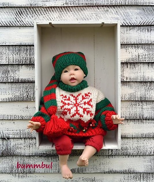 Baby Christmas Cardigan Knitting Pattern : Baby Knit Christmas Sweater Knitting pattern by Bummbul