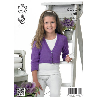 Girls' Cardigan in King Cole Giza Cotton DK - 3901