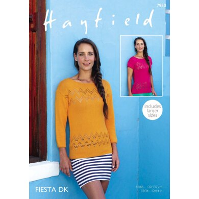 3/4 and Short Sleeved Tops in Hayfield Fiesta DK - 7950 - Downloadable PDF