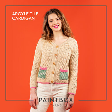 Argyle Tile Cardigan - Free Cardigan Knitting Pattern For Women in Paintbox Yarns Simply DK by Paintbox Yarns