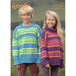 Child's Striped Sweater With Crew Or Polo Neck In Wendy Mode DK - 5762