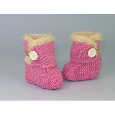 Baby Fur Trim One Button Booties (Bootees)