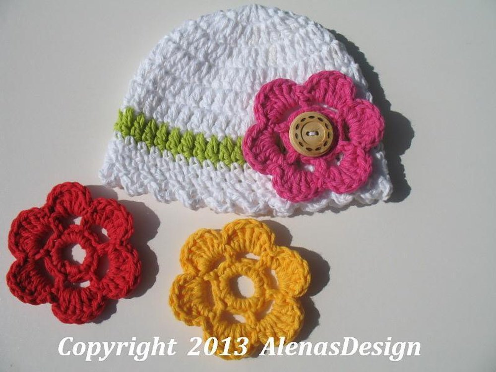 Baby Hat With Flower Crochet Pattern By Alena Byers