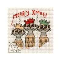 Mouseloft Christmas Card Stitchlet - Meery Christmas! Cross Stitch Kit - 64mm