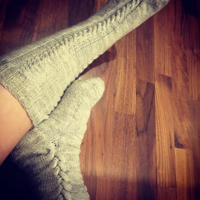 Poker Face Cable Knit Knee High Socks Knitting Pattern By