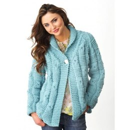 Textured Checks Cardigan in Bernat Softee Chunky
