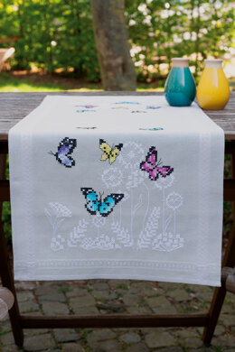 Vervaco Embroidery Kit - Butterfly Dance - Runner - 40cm x 100cm