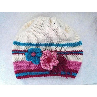 777 Knit Slouchy Hat and Flowers