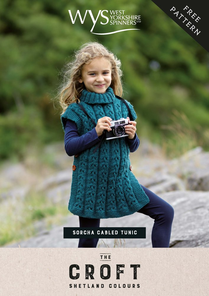 Sorcha Girls Cabled Tunic In Wys The Croft Shetland Colours