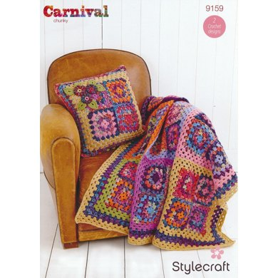 Granny Square Throw and Cushion in Stylecraft Special Aran - 9159