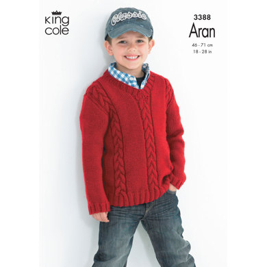 Cabled Sweaters in King Cole Comfort Aran - 3388