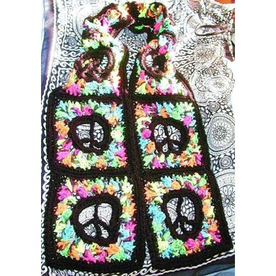 Stained Glass Peace Sign Scarf Or Afgan Square Crochet Pattern By