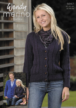 Ribbed Cardigan in Wendy Merino Chunky - 5647