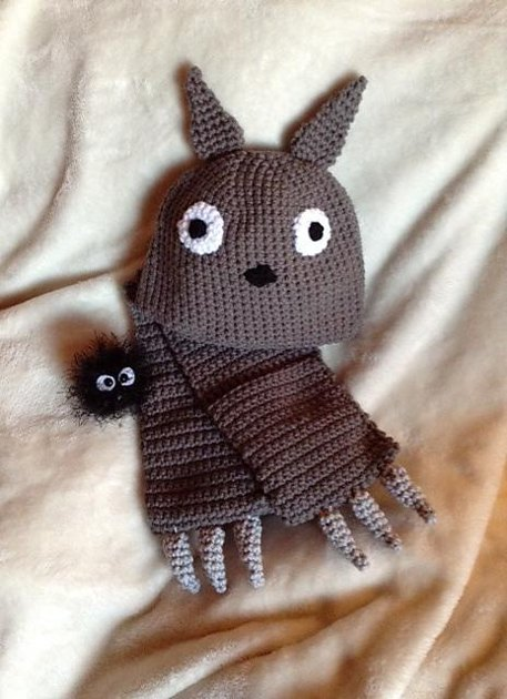 Knitting Pattern For Totoro Hat : My Neighbor Totoro Hat and Scarf Set Crochet pattern by Amanda Shore Croche...