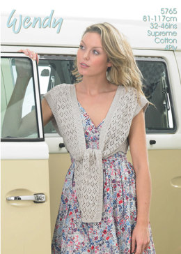 Tie Front Shrug in Wendy Supreme 4Ply - 5765