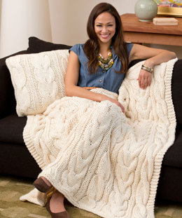 Twisted Taffy Throw & Pillow in Red Heart Soft - LW3663EN