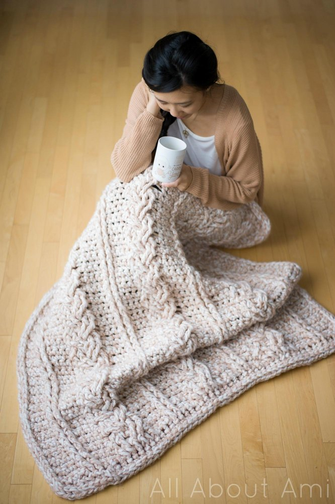Chunky Braided Cabled Blanket Crochet Pattern By Stephanie Lau