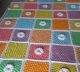 Daisy Cluster Squares Lap Blanket