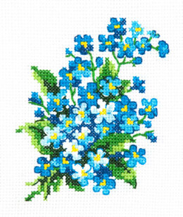 Magic Needle Forget-me-nots Cross Stitch Kit - 10cm x 11cm
