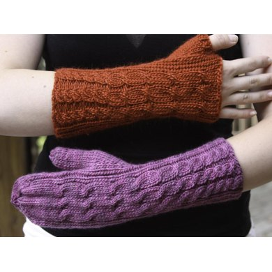 Cascading Cables Mitts and Mittens