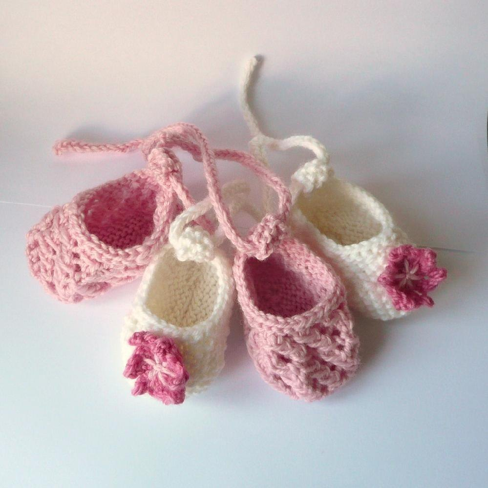 Baby Ballet Slippers Knitting Pattern : Baby Ballerina Shoes Knitting pattern by Katy Farrell Knitting Patterns L...
