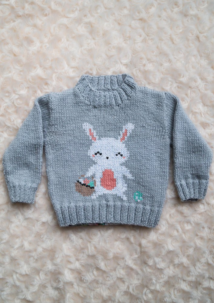 Rabbit Sweater Knitting Pattern : Intarsia easter bunny chart childrens sweater knitting