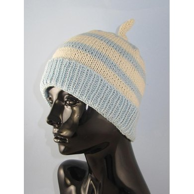 Simple Stripe Topknot Beanie Hat