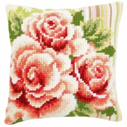 Vervaco Cross Stitch Kit: Cushion: Pink Roses