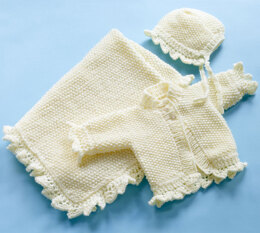 Christening Blanket, Sweater and Bonnet Set in Lion Brand Vanna's Choice Baby - 90064AD