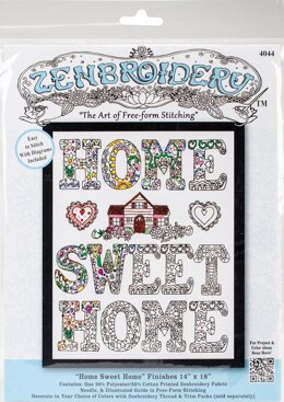 Design Works Zenbroidery Home Sweet Home Cotton Fabric Embroidery Kit
