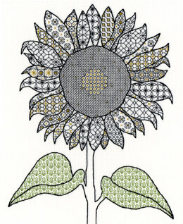 Bothy Threads Blackwork Sunflower Cross Stitch Kit - 27cm x 33cm