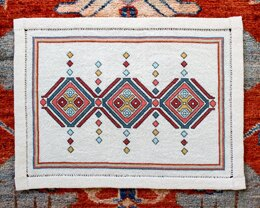Avlea Folk Embroidery Etruscan Diamonds Table Mat - Downloadable PDF