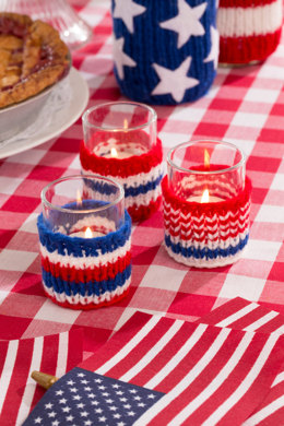 Patriotic Votive Cozies in Red Heart Super Saver Economy Solids - LW4765