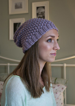 """Blackberry Beanie"" - Beanie Knitting Pattern For Women in Debbie Bliss Cashmerino Aran"