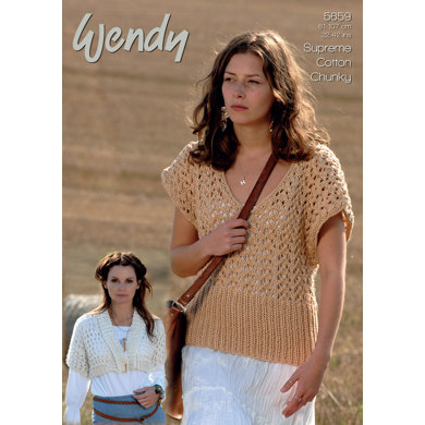 Short Cardigan and Lacy Top in Wendy Supreme Cotton Chunky