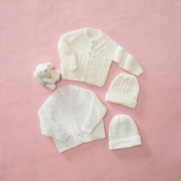 Babies Cardigan & Hat in King Cole Big Value Baby 3 Ply in King Cole - 5584 - Leaflet